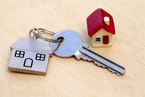 A key on a house key ring